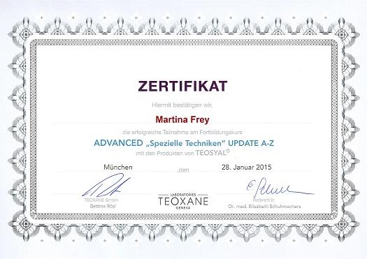 Zertifikate - Faltenbehandlung Bad Vilbel - Martina Frey Heilpraktikerin